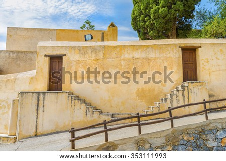 Picturesque staircase in the Patriarchal Monastery of Saint John the Theologian, known as the Monastery of Preveli.District of Rethymno.Crete island.Greece.Europe. - stock photo