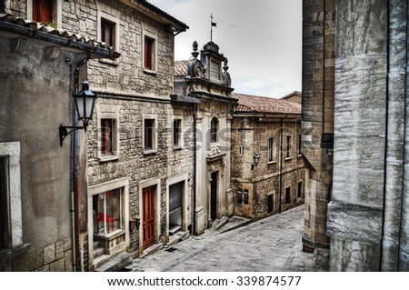 picturesque street in San Marino in hdr tone mapping effect - stock photo