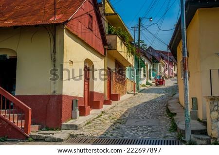 picturesque streets in isla de flores guatemala island central america - stock photo