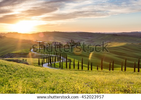 Picturesque sunset in Tuscany, Italy - stock photo
