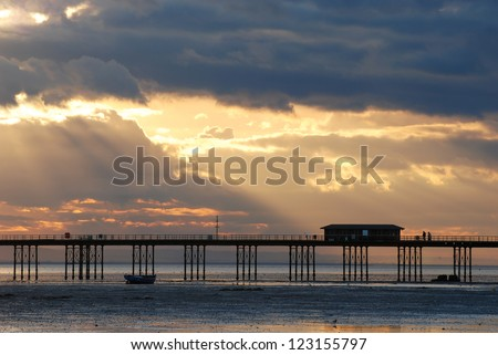 Picturesque sunset over the river Thames, Southend-on-Sea, England - stock photo