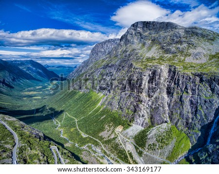 Picturesque valley around Trollstigen, famous serpentine mountain road in Norway - stock photo