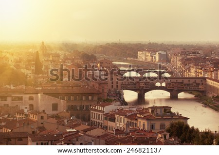 Picturesque view of Florence from Michelangelo Square, Italy - stock photo