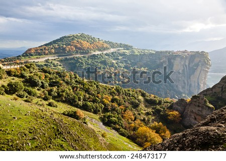 Picturesque view of Meteora Rocks and Monasteries, Trikala region, Greece - stock photo