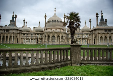 Picturesque view of the external facade of the Brighton Royal Palace Pavilion , a pleasure palace built in Indo-Saracenic style with onion domes and colonnades in Brighton, England - stock photo