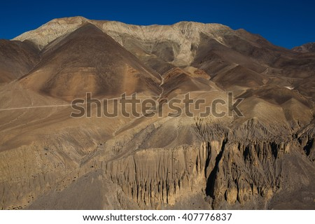 Picturesque view on the road to Annapurna mountain in Nepal. Annapurna trekking path - stock photo