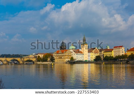 Picturesque view over Old Town square, Prague Castle and Hradcany in Prague, Czech Republic  - stock photo