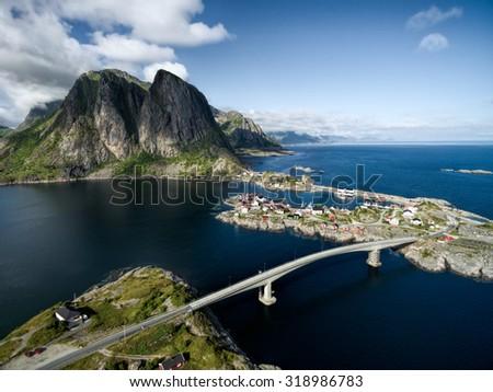 Picturesque village Hamnoya on Lofoten islands in Norway, scenic aerial view - stock photo