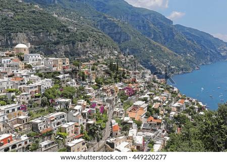 Picturesque Village Positano at Amalfi Coast Italy - stock photo