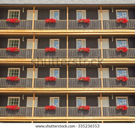 Picturesque windows in a wooden house, Norway - stock photo