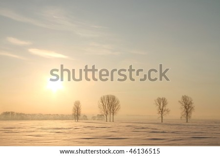 Picturesque winter sunrise over the field covered with snow. - stock photo