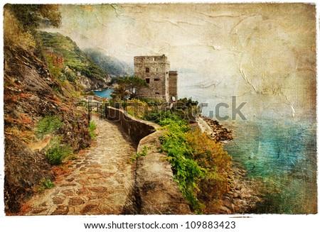 picturesue Italian coast - artwork in retro painting style - stock photo