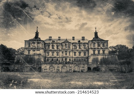 Pidhirtsi Castle, village Podgortsy, Renaissance Palace, Lviv region, Ukraine. Retro stylized photo in black and white colors  - stock photo