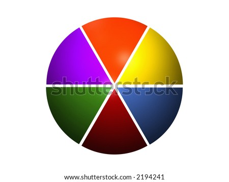 pie chart 100%/6 - stock photo