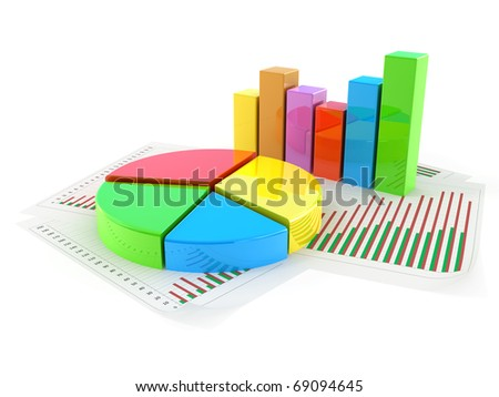 Pie chart concept isolated on white - stock photo