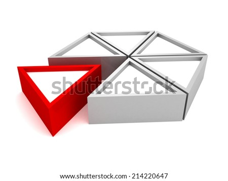 pie chart diagram with red piece. 3d render illustration - stock photo