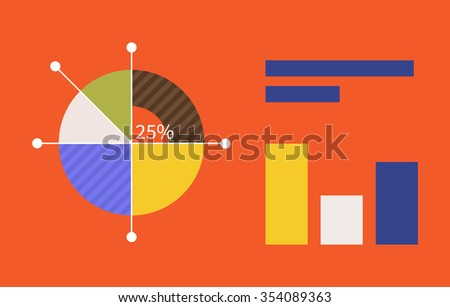 Pie chart flat sign design concept. Graph pie, infographics and pie chart, diagram marketing, report data, circle statistic, finance presentation, market information financial. Raster version - stock photo