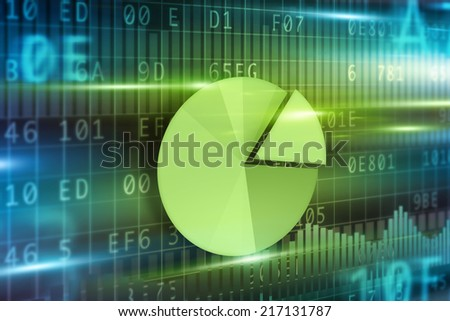 Pie-chart on futuristic background green pie-chart - stock photo