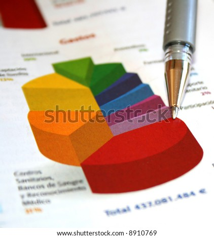 Pie chart report - stock photo