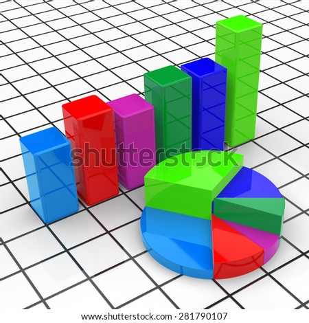 Pie Chart Report Showing Business Graph And Graphs - stock photo