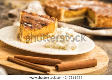 Pie dessert with cream - stock photo
