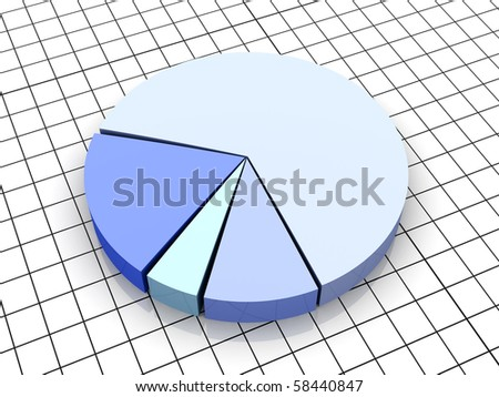 Pie graph. 3D rendered Illustration. - stock photo