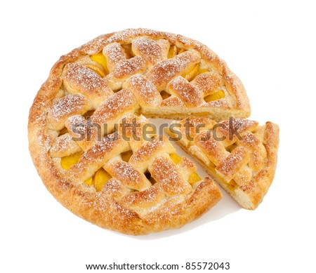 Pie  homemade with fruit  Isolated on a white background - stock photo
