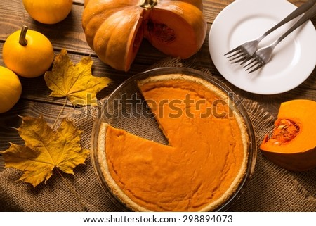 Pie, pumpkin, holiday. - stock photo