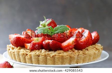 pie shortcake dough with fresh berries strawberries - stock photo
