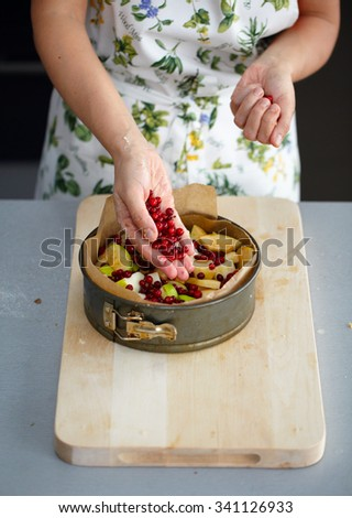 Pie with apples and cranberries. Master class - stock photo
