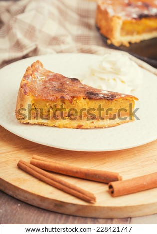 pie with cinnamon and pumpkin homemade dessert food - stock photo
