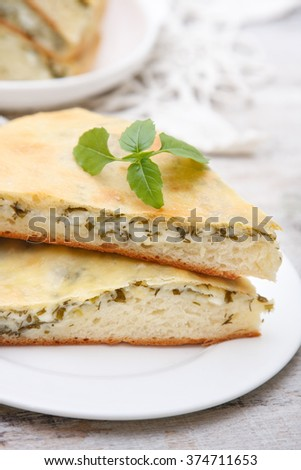 pie with homemade cheese - stock photo