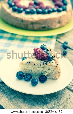 Pie with summer berries/retro filter - stock photo