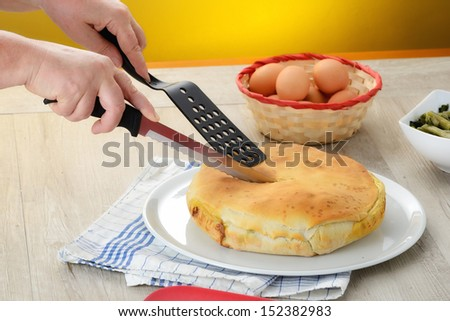 pie with vegetables - stock photo