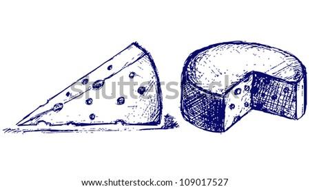 Piece cheese. Raster - stock photo
