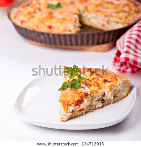 Piece of a chicken meat pie on plate - stock photo