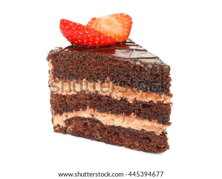 Piece of a chocolate cake on a white background - stock photo