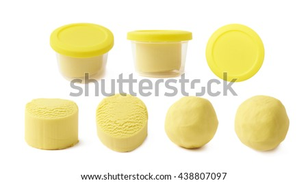 Piece of a yellow modelling clay isolated over the white background, set of seven different foreshortenings - stock photo