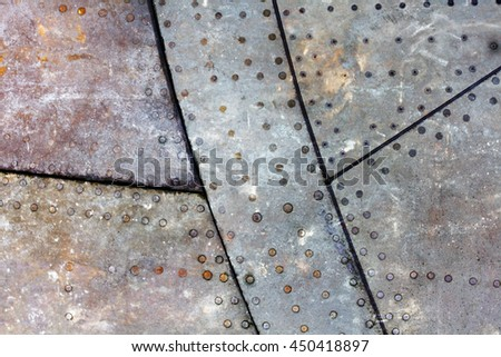Piece of aircraft grunge metal background, old and worn - stock photo