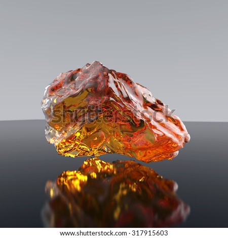 piece of amber - stock photo