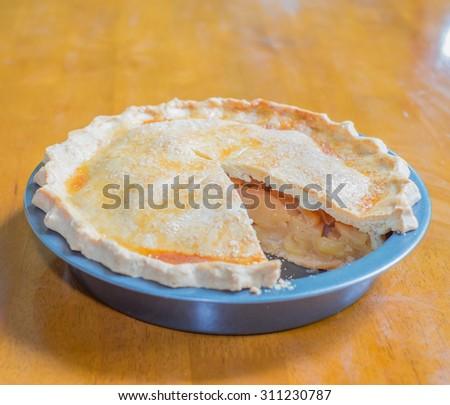 Piece of apple pie on dish - stock photo