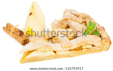 Piece of apple pie with cinnamon  and mint leaf  isolated on white background - stock photo