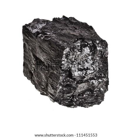 piece of black coal isolated on white background - stock photo