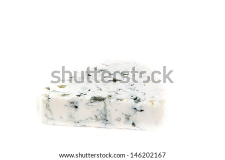 Piece of blue cheese with a noble mould on white background, traditional snack - stock photo