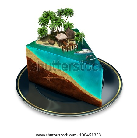 Piece of cake on a plate with a tropical island top. 3d image. Isolated white background. - stock photo