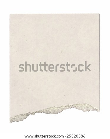 Piece of cardboard with torn edge. Isolated on white. Clipping path included. - stock photo