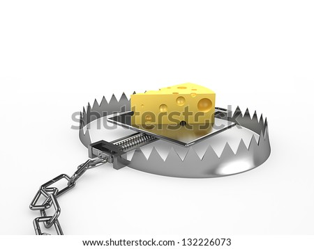 Piece of cheese - a bait in a trap, 3d render - stock photo