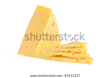 piece of cheese isolated on a white background - stock photo