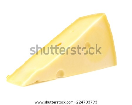 Piece of cheese on a white background  - stock photo