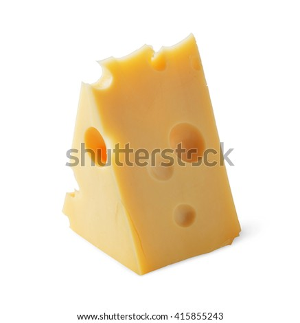 Piece of Cheese with holes isolated on white background - stock photo